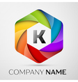K Letter colorful logo in the hexagonal on grey vector image vector image