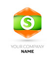 letter s logo in the colorful hexagonal vector image vector image