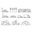 line transportation landscape isons set vector image