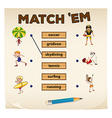 Matching game with sport and people vector image vector image