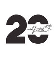 number 20 for anniversary celebration card icon vector image vector image