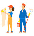 people repairing service man with paint bucket vector image