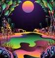 Psychedelic forest landscape vector illustration vector image