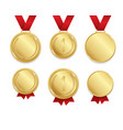 realistic detailed 3d golden medal set vector image vector image
