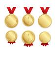 realistic detailed 3d golden medal set vector image