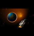rocket and earth scene vector image vector image