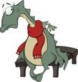 Sad green dragon cartoon vector image vector image