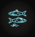 sardine fish icon in glowing neon style vector image