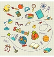 School doodle on notebook page background vector image vector image