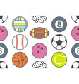 seamless pattern with collection of sports balls vector image vector image