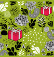 seamless wallpaper with gift boxes on the green vector image vector image