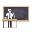 senior science teacher teaching student in vector image