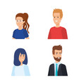 set beauty women and attractive men with hairstyle vector image