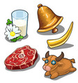 set of cows and things related to it vector image vector image