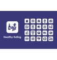 Set of healthy eating simple icons vector image