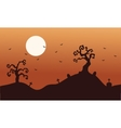 Silhouette of halloween dry tree and bat vector image vector image