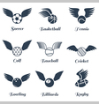 Sport balls with wings icon set vector image vector image