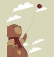 teddy with a balloon vector image vector image