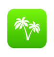two palms icon digital green vector image vector image