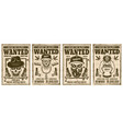 wanted set posters with gangster skulls vector image vector image