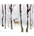 Winter Forest and Deer vector image vector image