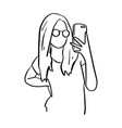 woman with glasses taking photo with mobile phone vector image vector image