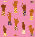 womans hands with her fist raised up and vector image