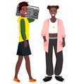 youth teenagers with boombox radio music vector image