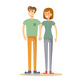full portrait of happy couple isolated on white vector image