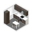 Kitchen icometric icon set vector image