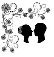 wedding silhouette with flourishes vector image