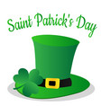 saint patrick day with clover leaf and green hat vector image