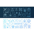2019 new year set of 2 blue banners in thin vector image