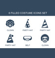 6 costume icons vector image vector image