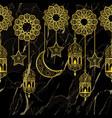 arabic golden lantern seamless border vector image vector image