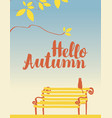 autumn landscape with tree cat and bench vector image vector image