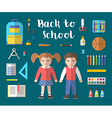 Back to school flat education icon set vector image