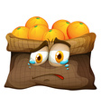 Bag of oranges with sad face vector image