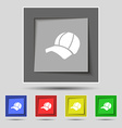 Ball cap icon sign on original five colored vector image