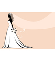 Beautiful silhouette bride vector image