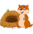 cartoon groundhog in front of its hole vector image vector image