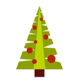 Christmas tree with toys icon flat style vector image vector image