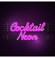 cocktail neon sign purple background image vector image vector image