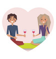 couple drinking wine poster vector image vector image
