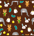 Cozy autumn seamless pattern with bears and cats