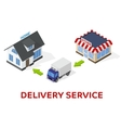 Delivery of goods from store to home - isometric vector image