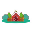farm house with trees and wooden fence vector image