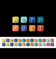 flat icons alphabet - colorful design vector image