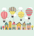 four hot air balloon fly over colorful houses vector image vector image