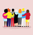 friends forever friendly group of people hugging vector image vector image